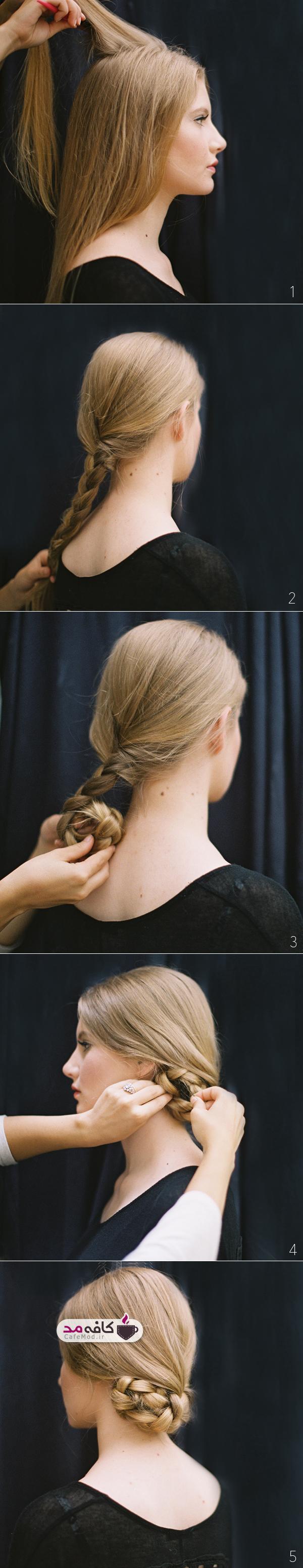 آموزش بافت و جمع کردن موها با ترفندی ساده