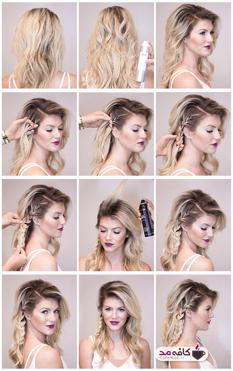آموزش بافت موی بلند بصورت باز