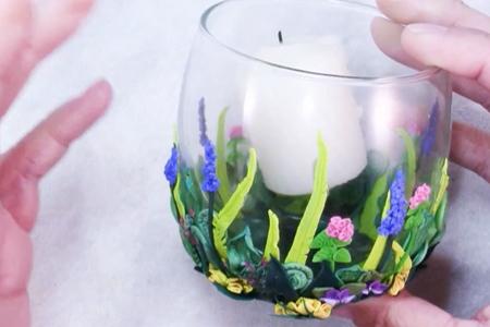 فیلم آموزش جا شمعی شیشه ای با تزیین خمیری