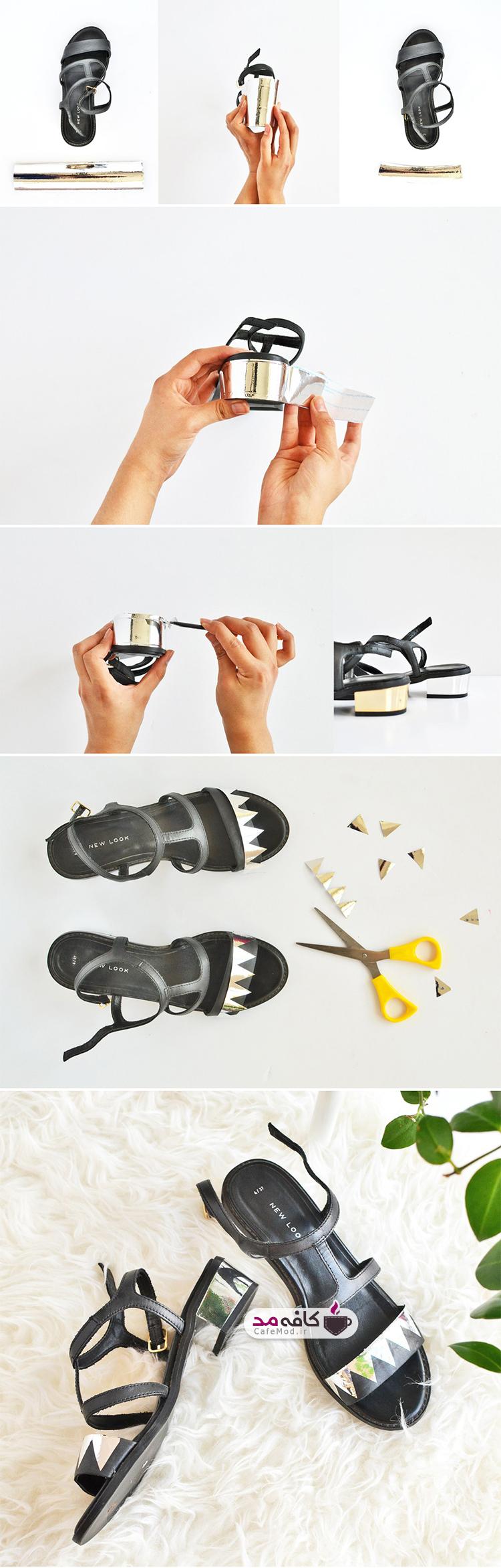 آموزش تزیین کفش با ورقه زر