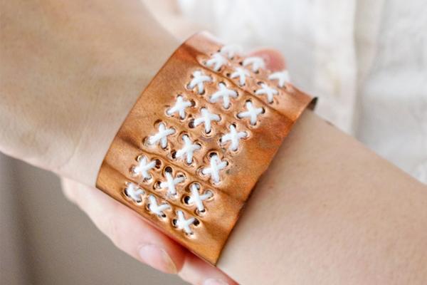 آموزش ساخت دستبند مسی گلدوزی شده