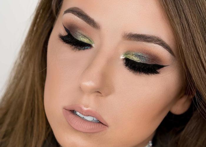 آموزش آرایش چشم سایه سبز و قهوه ای