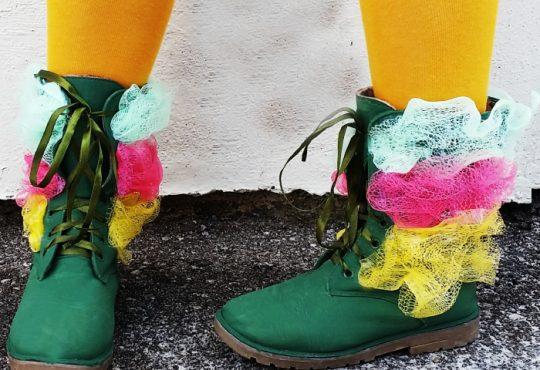 آموزش تزیین کفش با تور لیف
