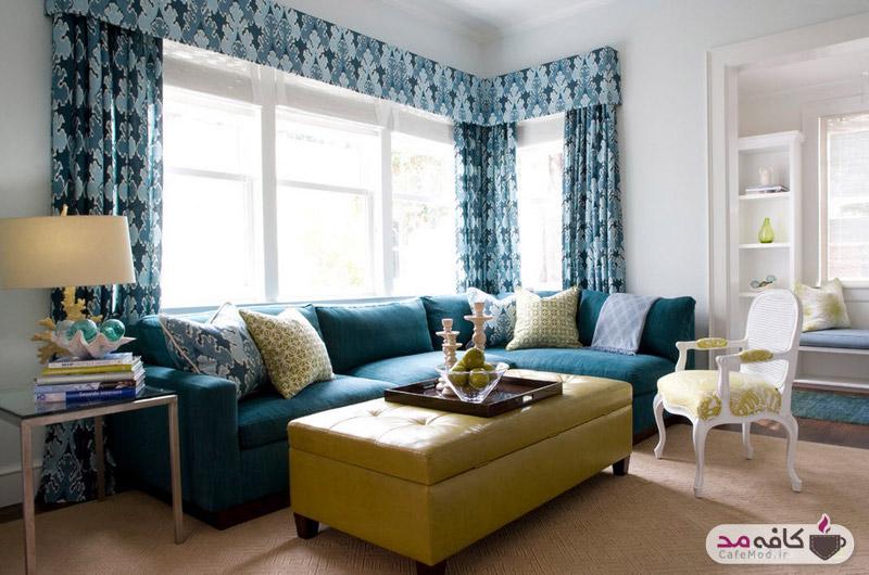 رنگ آبی در اتاق نشیمن