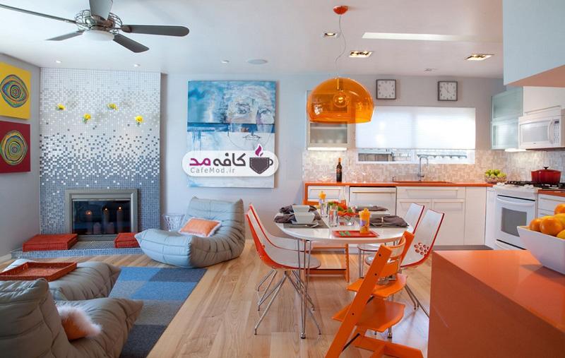 دکوراسیون آشپزخانه ی رنگارنگ