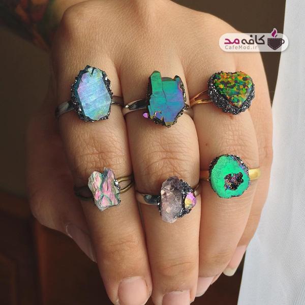 انگشتر با سنگ طبیعی