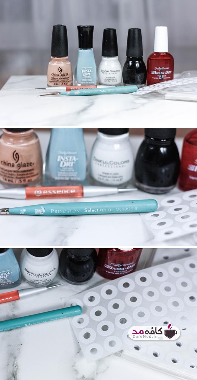 آموزش تصویری آرایش ناخن طرح چشم