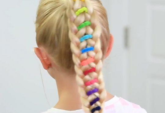 فیلم آموزش بافت موی دخترانه با کش های رنگی