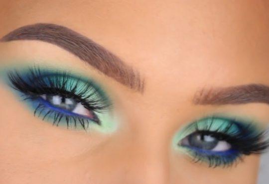 فیلم آموزش آرایش چشم با رنگ فیروزه ای و سبز