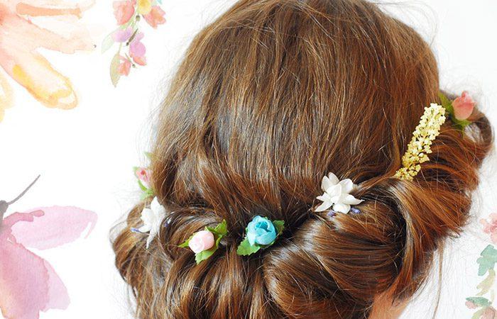 آموزش جمع کردن مو و تزئین با گل