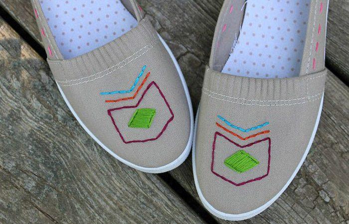 ایده دوخت طرح روی کفش ساده