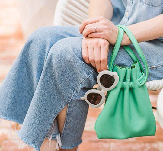 آموزش تصویری دوخت کیف چرمی آبی