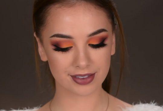 فیلم آموزش آرایش چشم پاییزه با رنگ های نارنجی