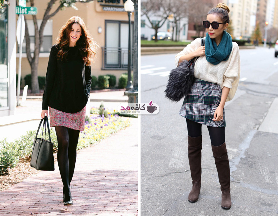 نحوه پوشیدن دامن کوتاه در زمستان