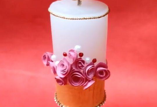 فیلم آموزش تزیین شمع با گل رز