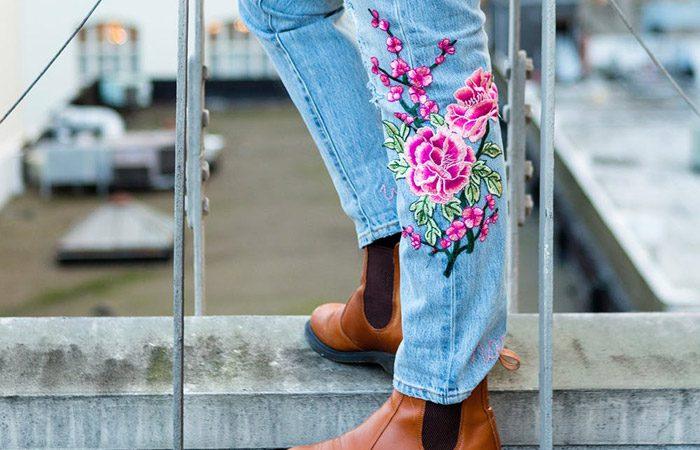 تزئین شلوار جین با گلدوزی