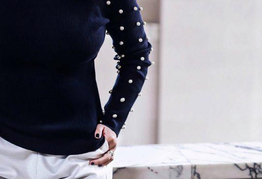 دوخت مروارید روی آستین لباس