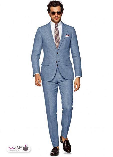 پوشش های مناسب با کت و شلوار آبی کمرنگ