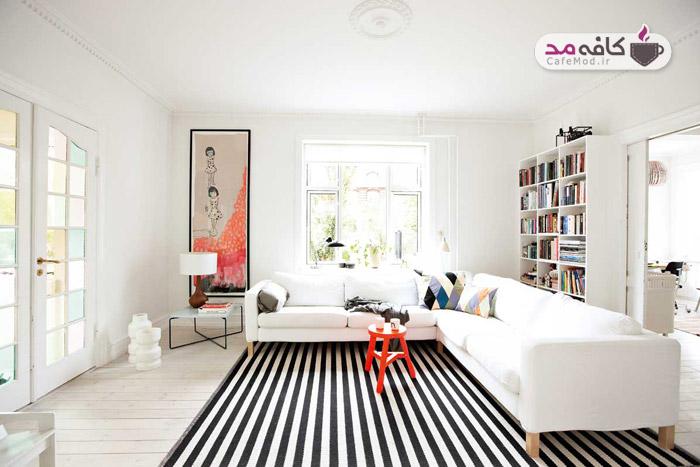 دکوراسیون نشیمن مدرن با فرش های سیاه سفید