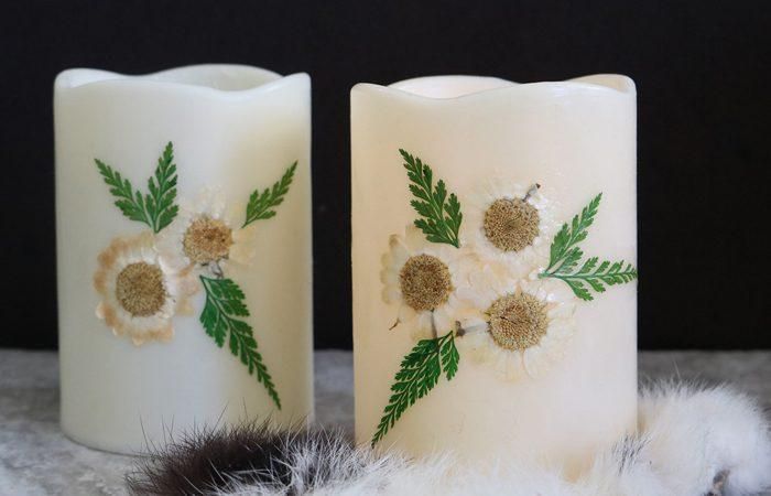 آموزش تزیین شمع با گلهای خشک