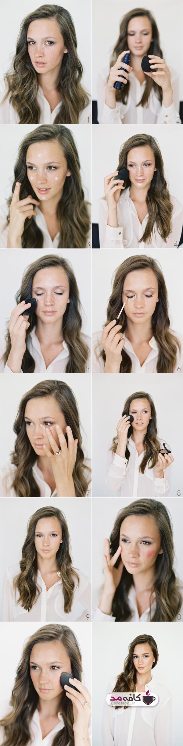آموزش آرایش ملایم صورت با رژگونه