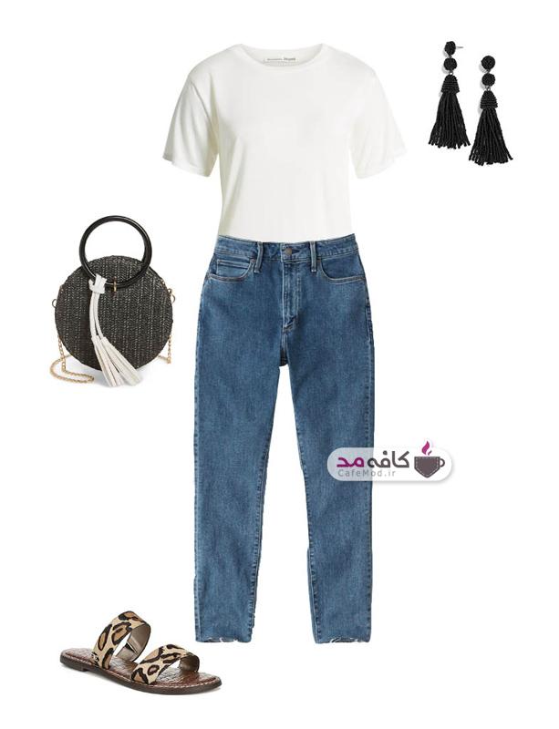 تیشرت سفید زنانه همراه با شلوار جین