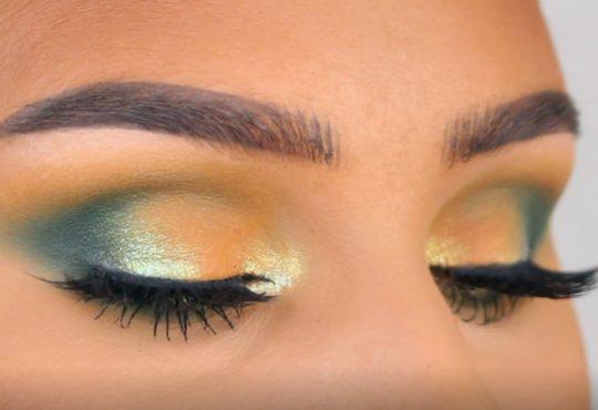 فیلم آموزش آرایش چشم با سایه های سبز و طلایی