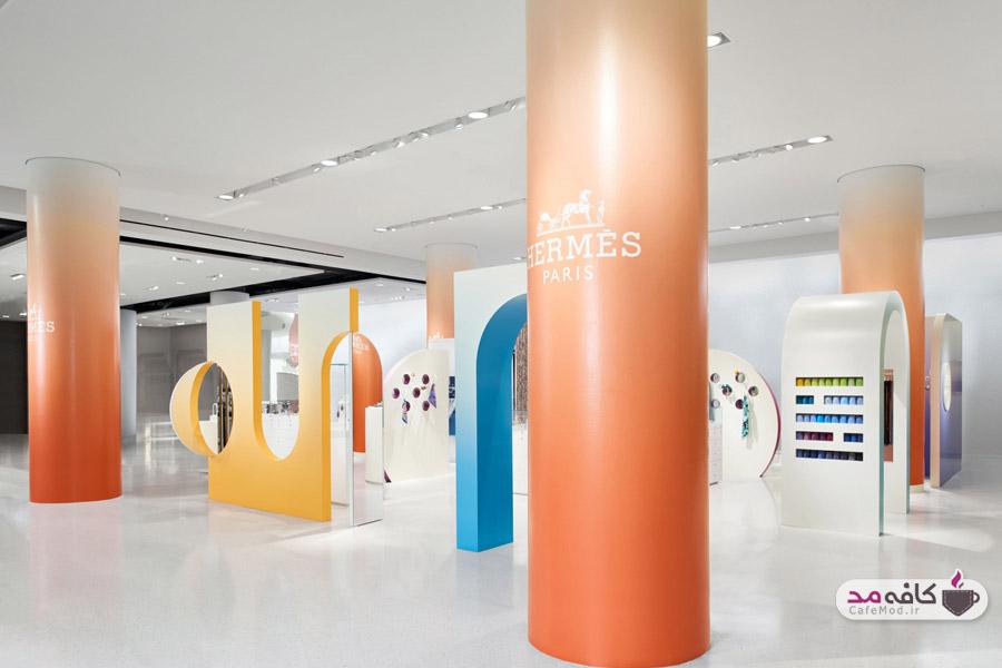 طراحی داخلی فروشگاه روسری برند Hermès