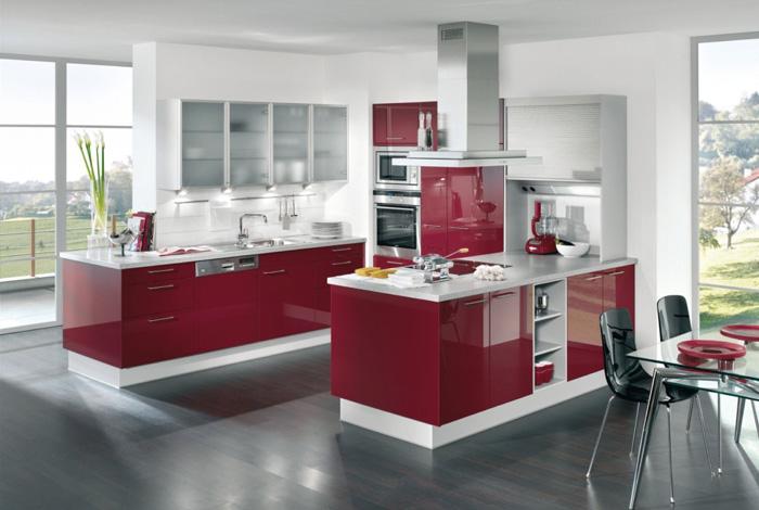 آشپزخانه رنگ زرشکی