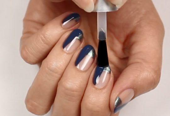 آموزش آرایش ناخن ترکیب رنگ سرمعی