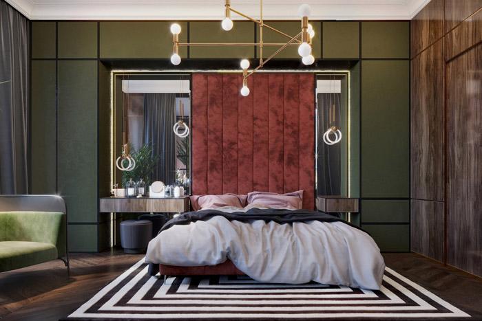 دکوراسیون داخلی اتاق خواب با طیف رنگی سبز