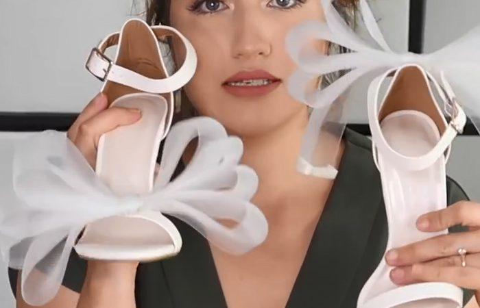 فیلم آموزش تزیین کفش با توری سفید و سیاه
