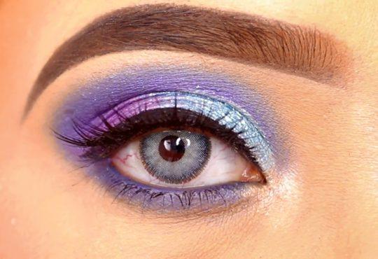 فیلم آرایش کامل چشم با سایه های آبی