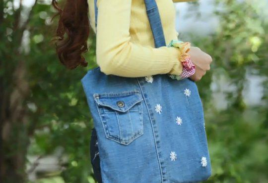 فیلم آموزش دوخت کیف با شلوار جین و گلدوزی شده
