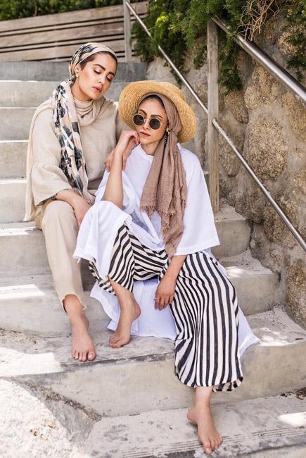 استفاده از کلاه زنانه با لباس راهراه