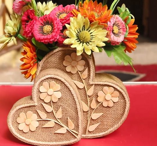 فیلم آموزش ساخت گلدان گل تزئینی قلب شکل