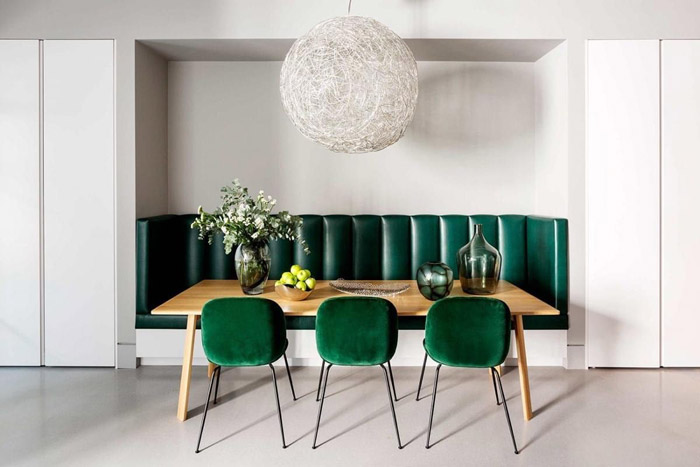 دکوراسیون اتاق غذاخوری با رنگ سبز