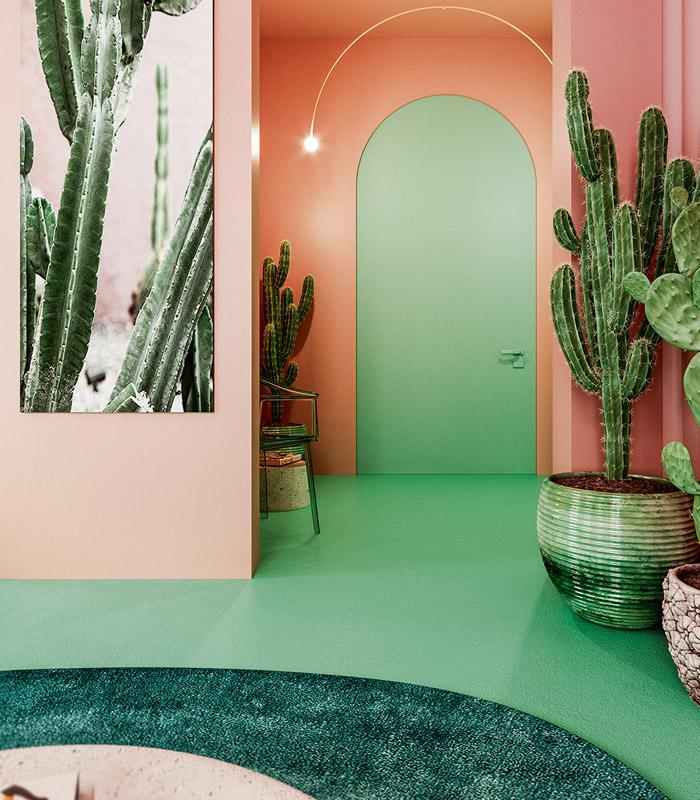 هماهنگی زیبای رنگهای سبز و صورتی در چیدمان