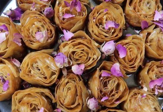 آموزش باقلوا گل رز