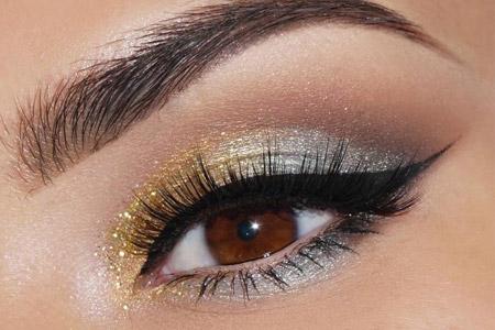 آموزش آرایش نقره ای طلایی چشم  2