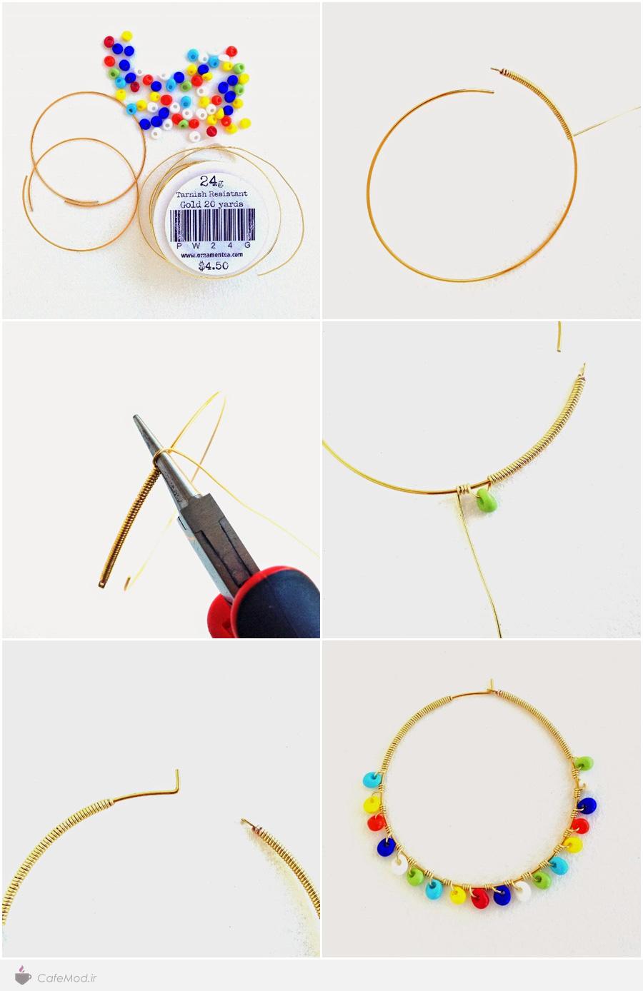 آموزش تصویری ساخت گوشواره حلقه ای